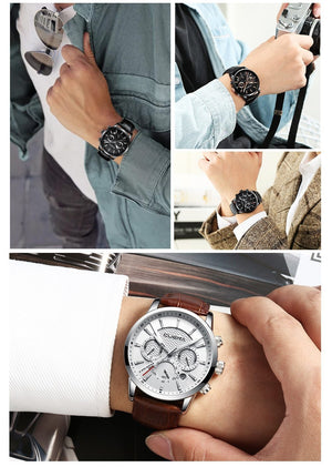 CUENA Men's Watches Stopwatch Date Luminous Hands Genuine Leather 30M Waterproof Clock Man Quartz Watches Men Fashion Watch 2018 - Guam Shopping Network