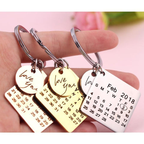Personalized Signature Calendar Key Chain Date Highlighted With Heart - Guam Shopping Network