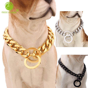 15mm Strong Silver Gold Stainless Steel Slip Dog Collar Metal Dogs Training Choke Chain Collars for Large Dogs Pitbull Bulldog - Guam Shopping Network