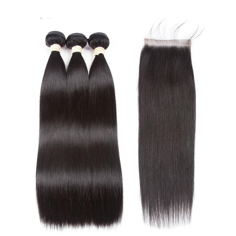 Hair Extension 100% Brazilian Human Hair Bundles With Closure 3 Bundles Straight Bundles With Lace Closure - Guam Shopping Network
