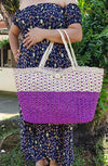 Abaca Large Weave Shopping Tote - Purple - Guam Shopping Network