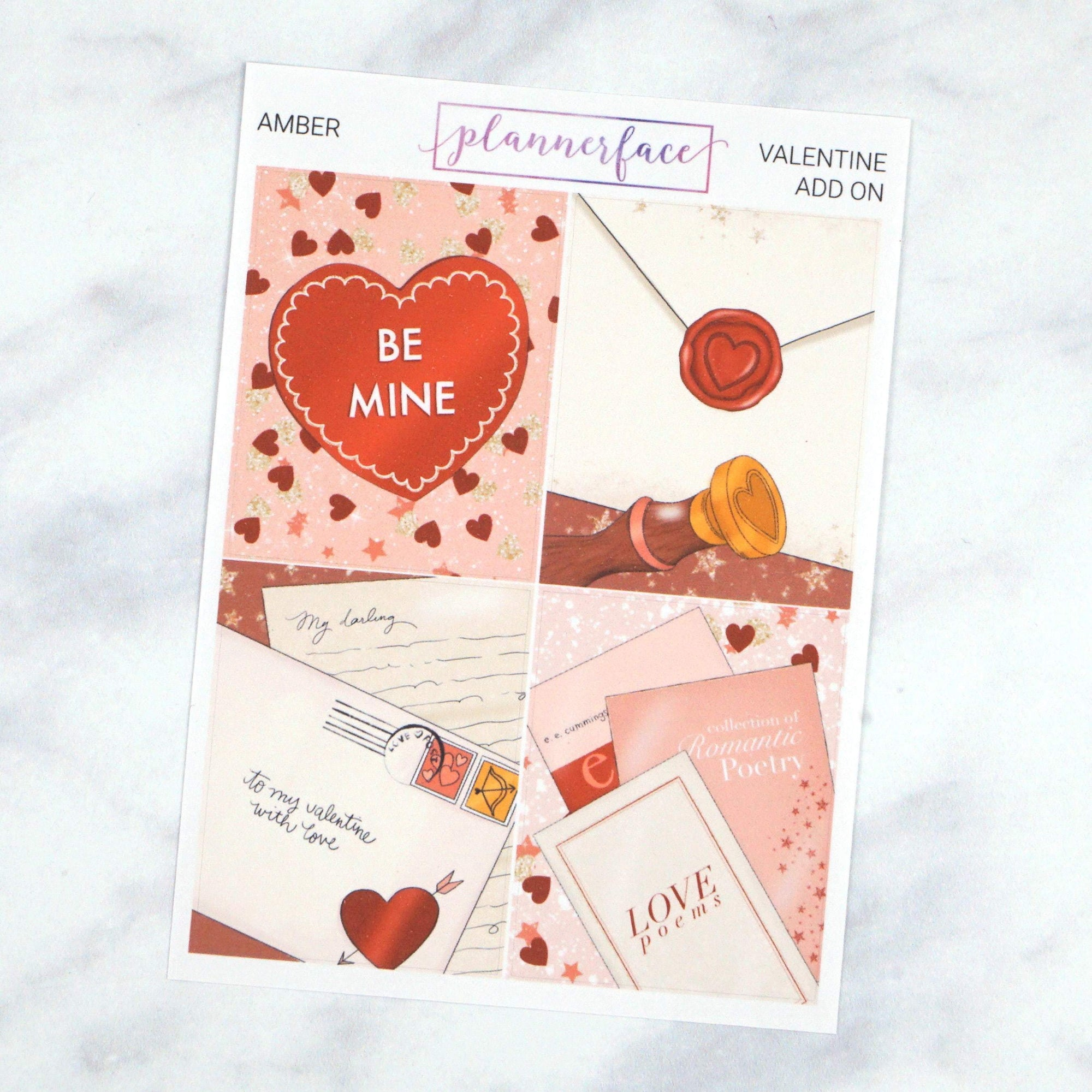 Plannerface Amber - Valentine Add-on Boxes Planner Stickers