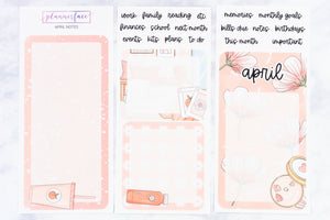 Plannerface April Notes Page Planner Stickers
