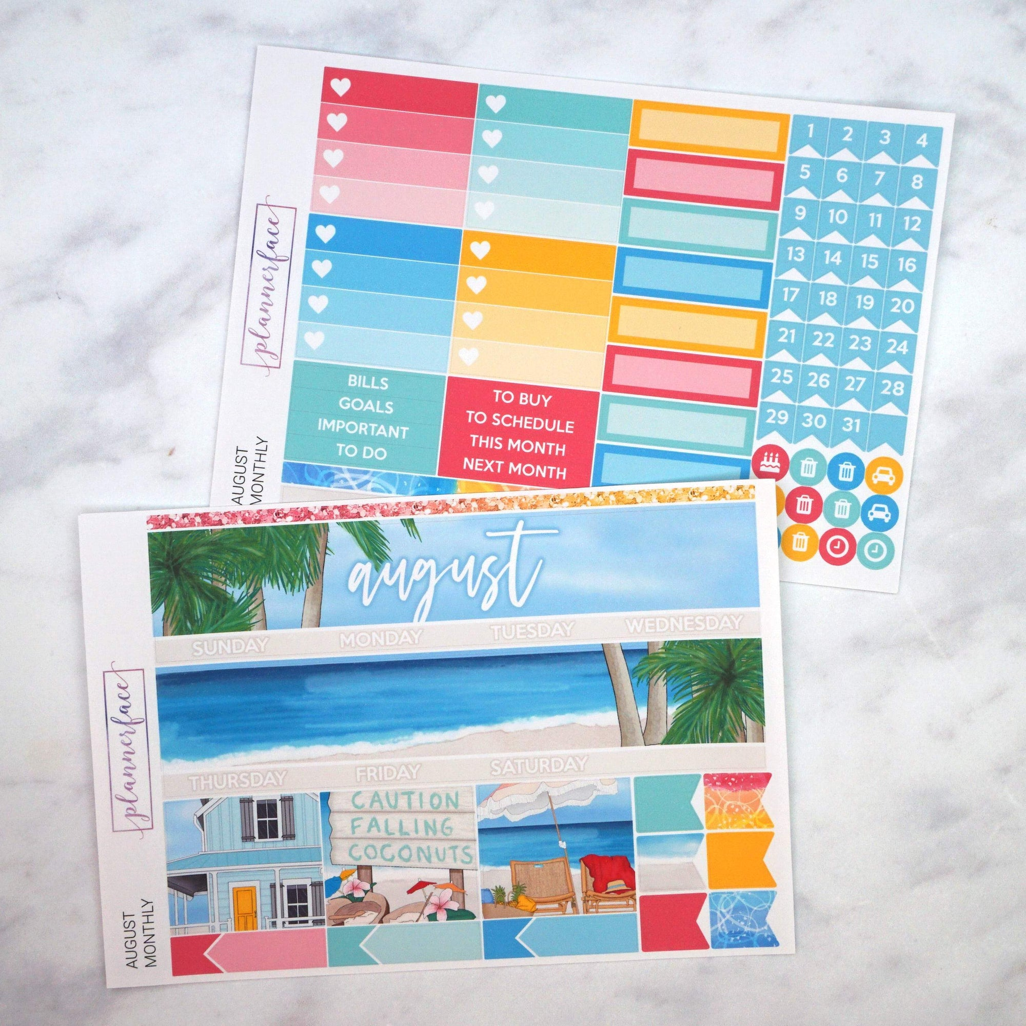 Plannerface August Monthly Kit Planner Stickers