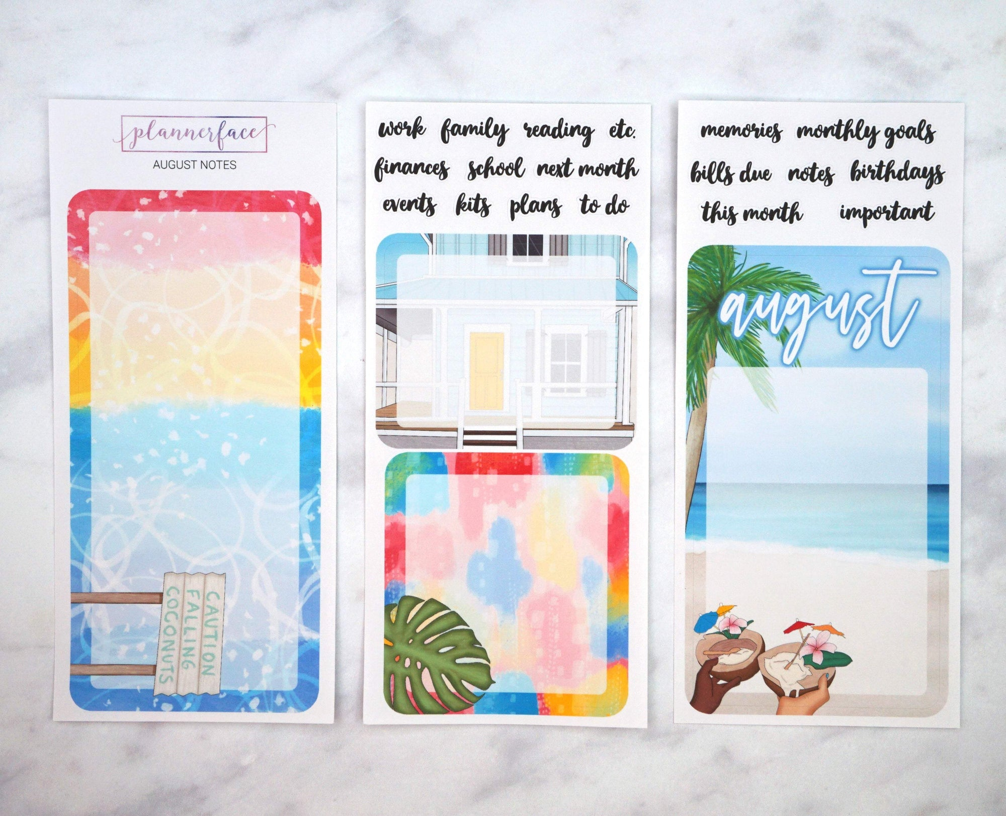 Plannerface August Notes Page Planner Stickers