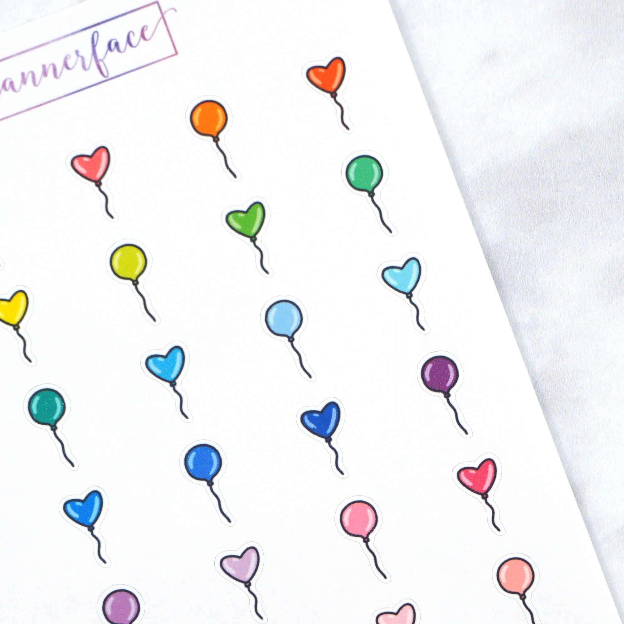 Plannerface Balloon Multicolour Doodles Planner Stickers