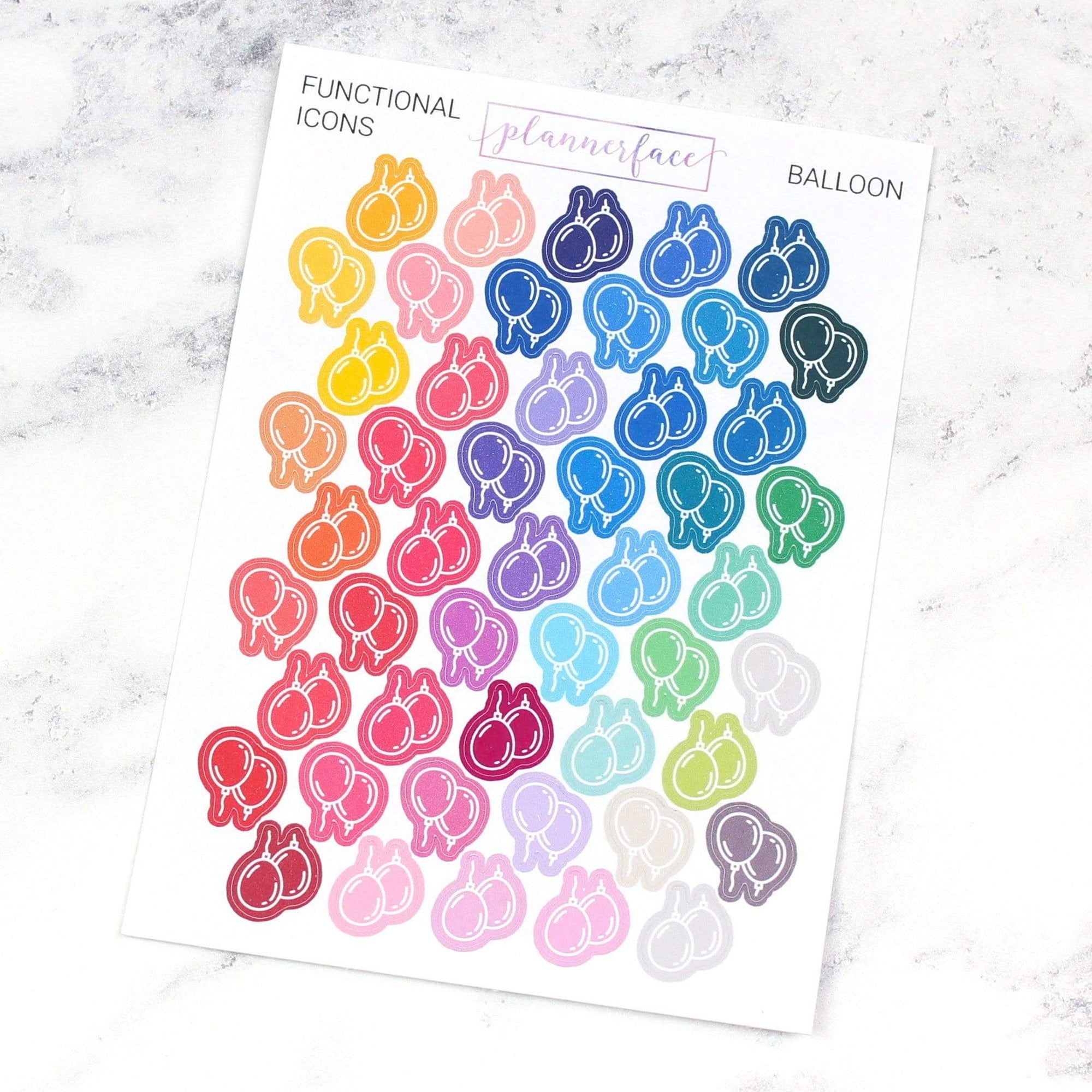 Plannerface Balloon | Multicolour Icons Planner Stickers