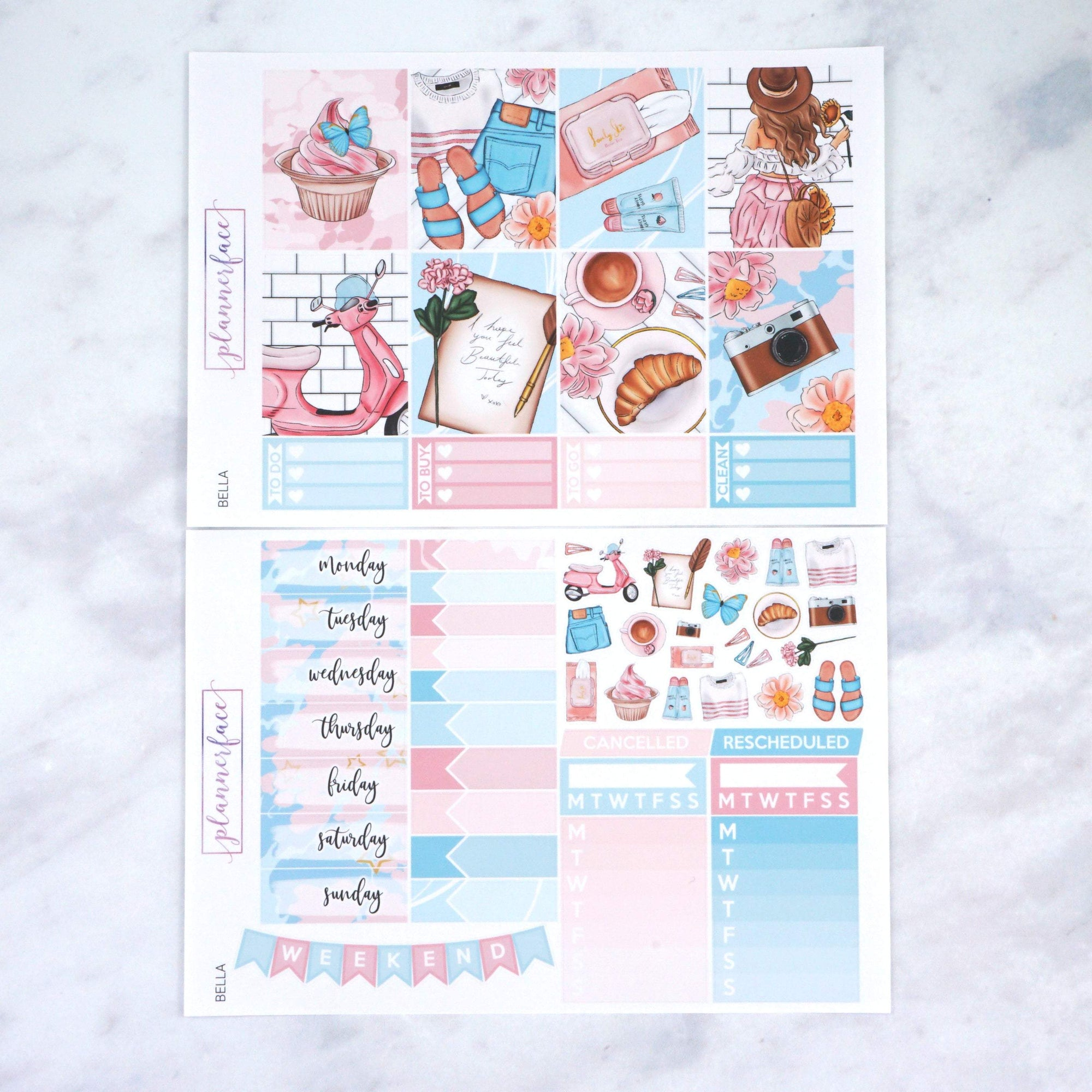 Plannerface Bella Weekly Kit Planner Stickers