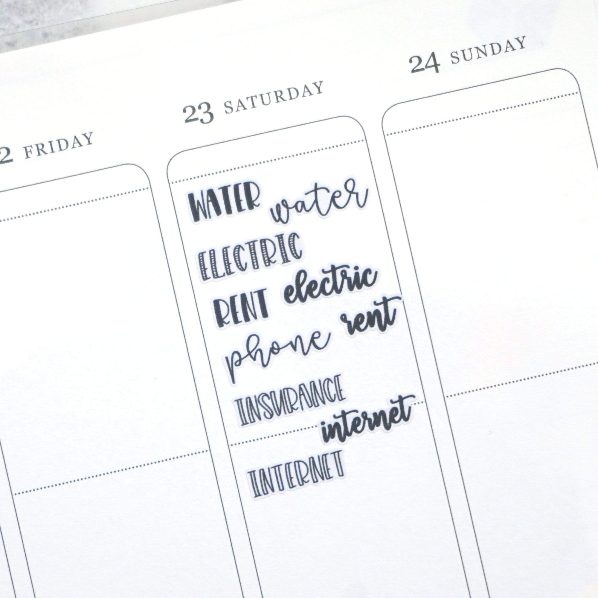 Plannerface Bills | Lettering Planner Stickers