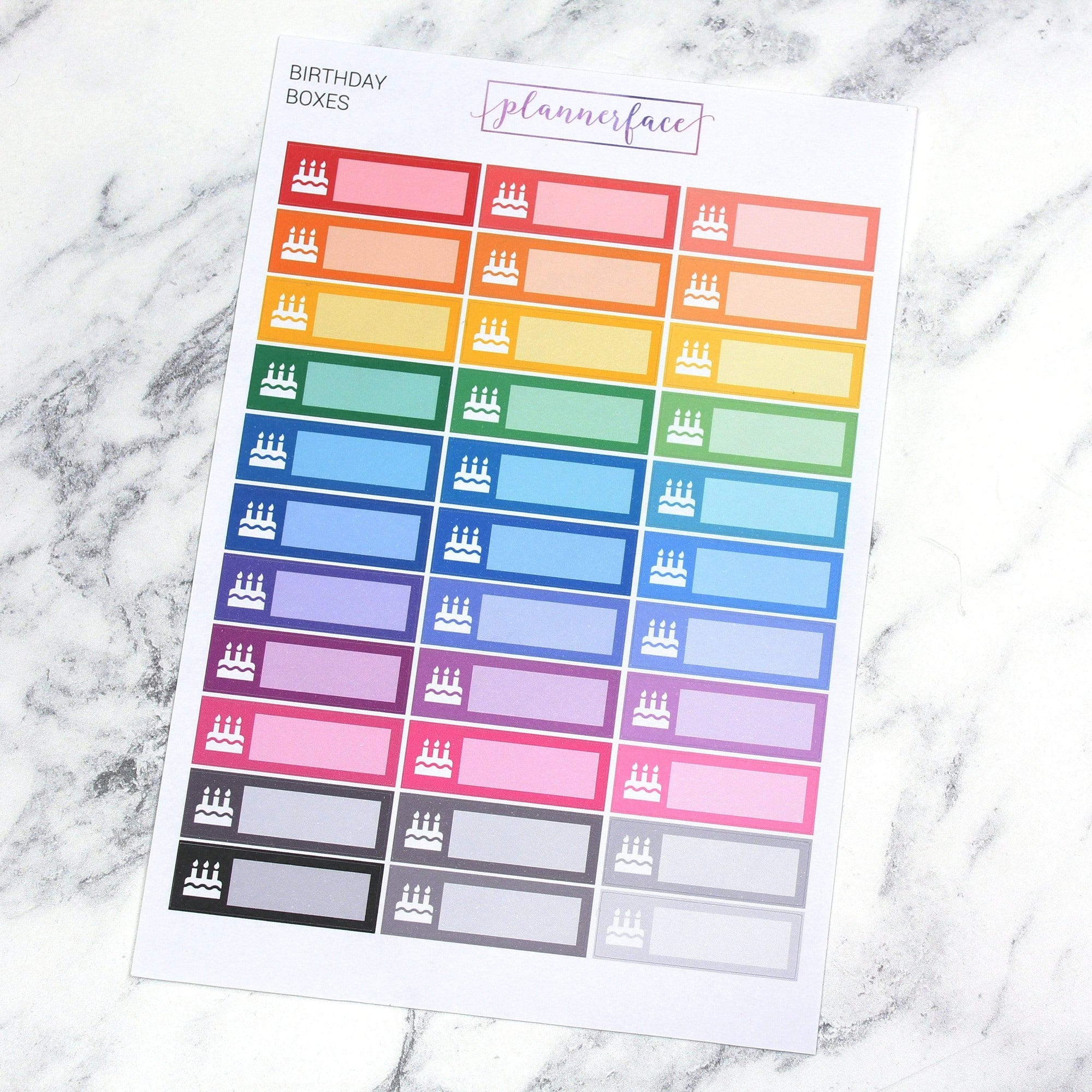 Plannerface Birthday Quarter Boxes | Multicolour Planner Stickers