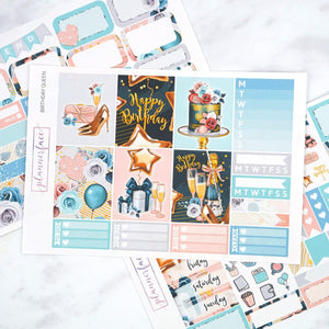 Plannerface Birthday Queen Mini Kit Planner Stickers
