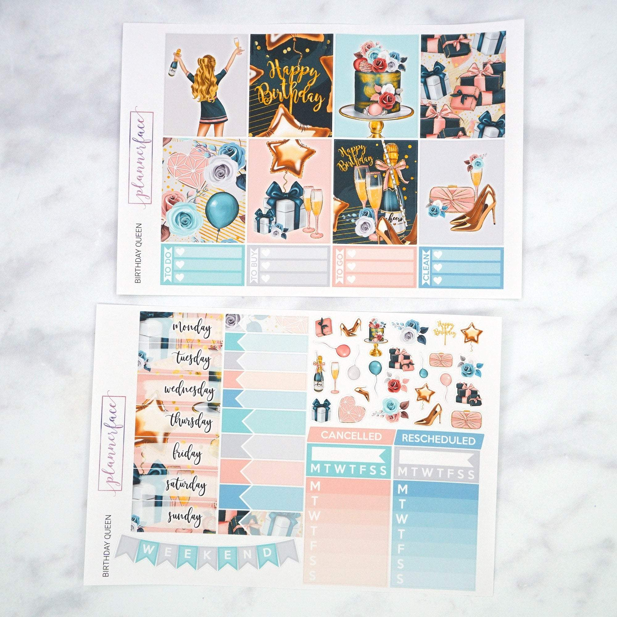 Plannerface Birthday Queen Weekly Kit Planner Stickers