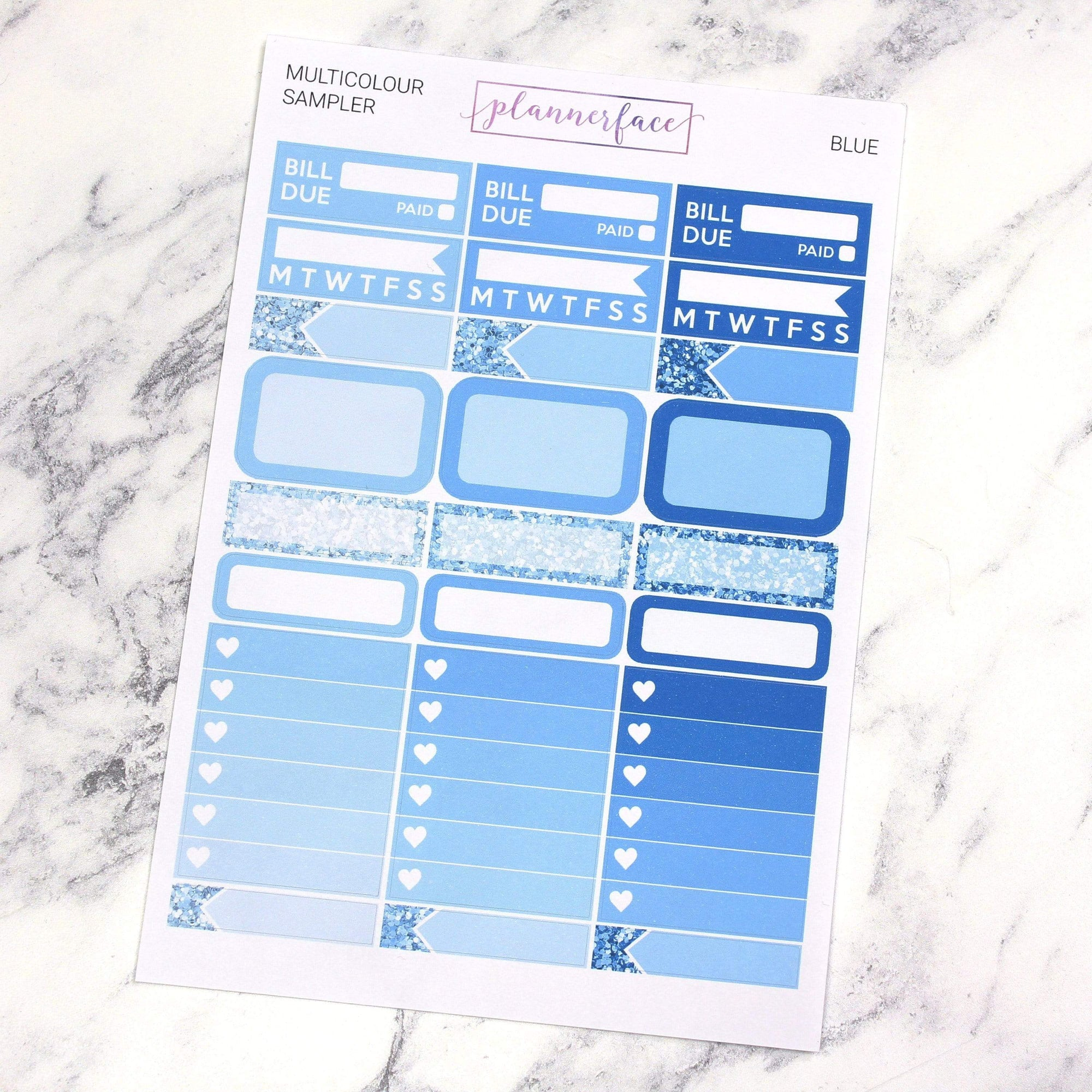 Plannerface Blue Multicolour Sampler Planner Stickers