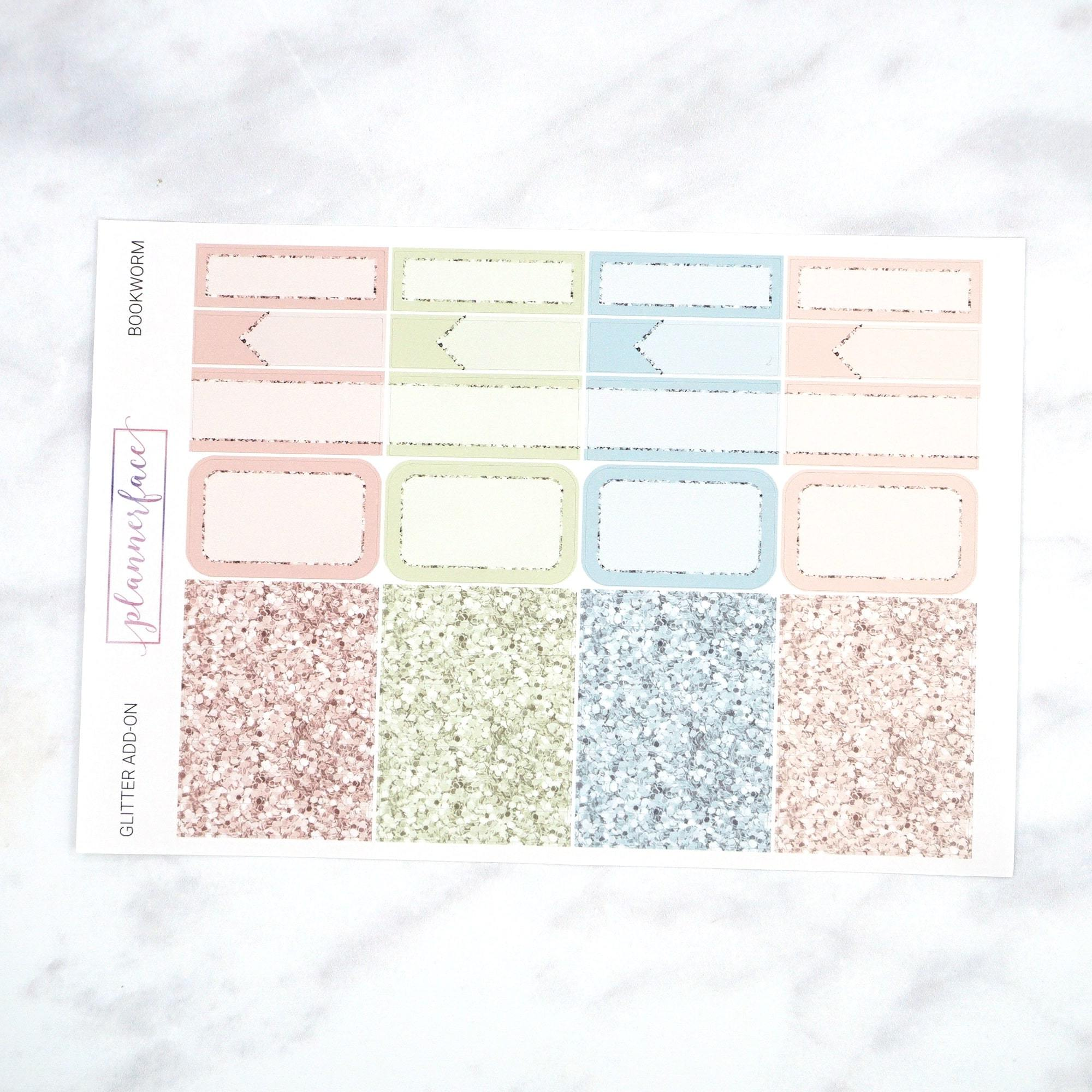Plannerface Bookworm | Glitter Add-on Planner Stickers
