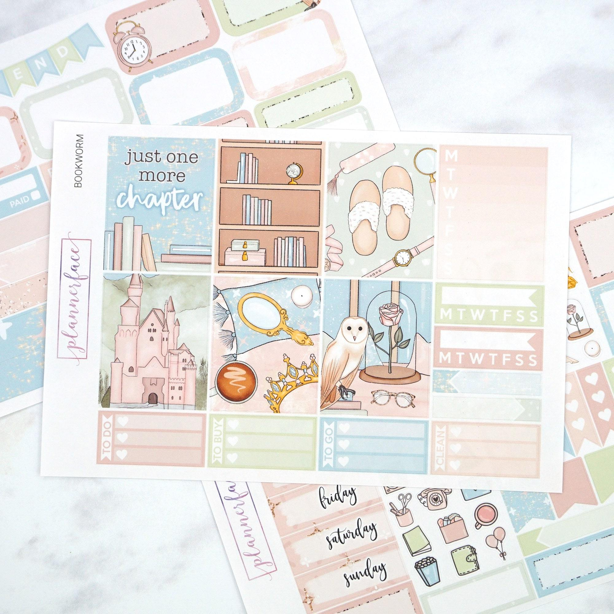 Plannerface Bookworm Mini Kit Planner Stickers