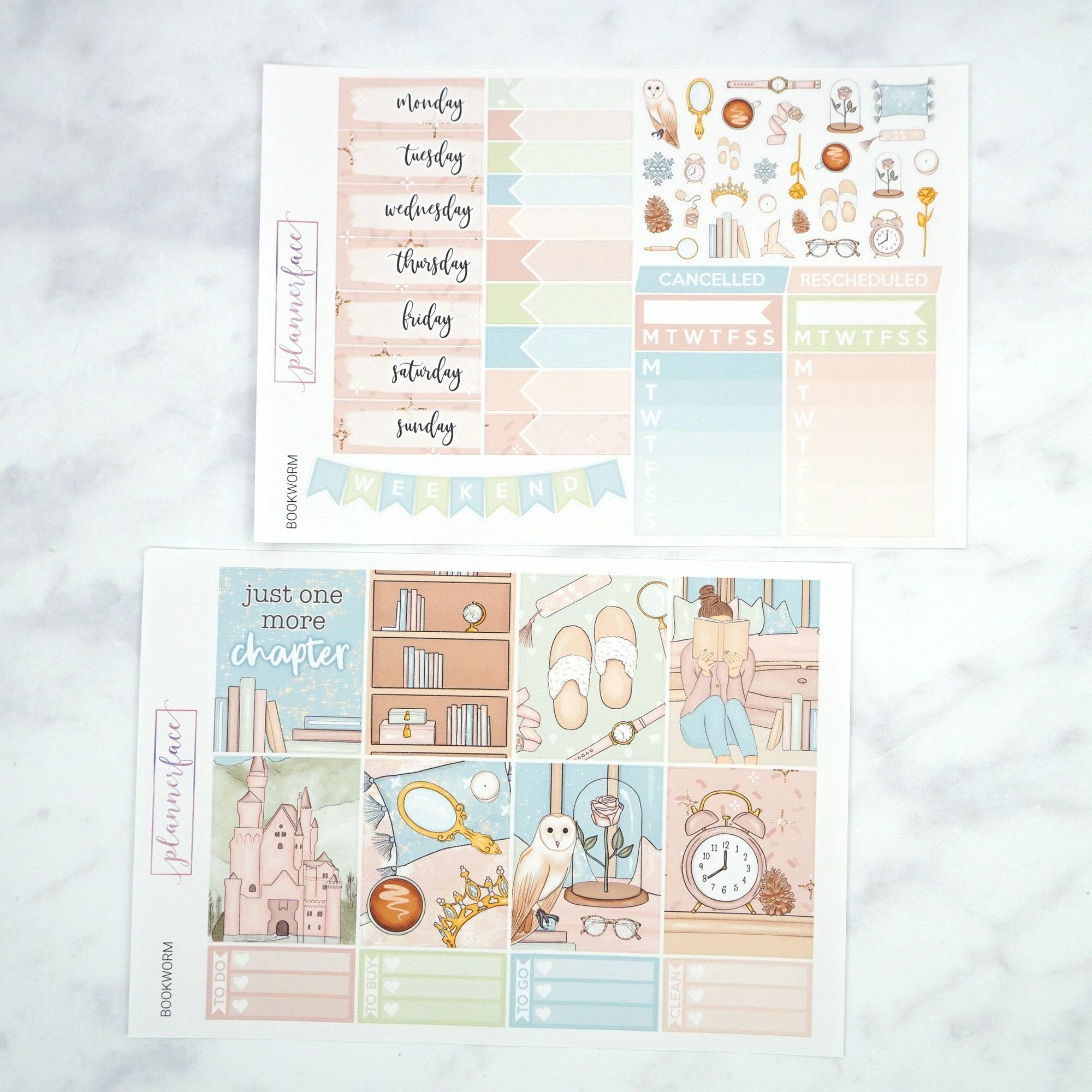 Plannerface Bookworm Weekly Kit Planner Stickers