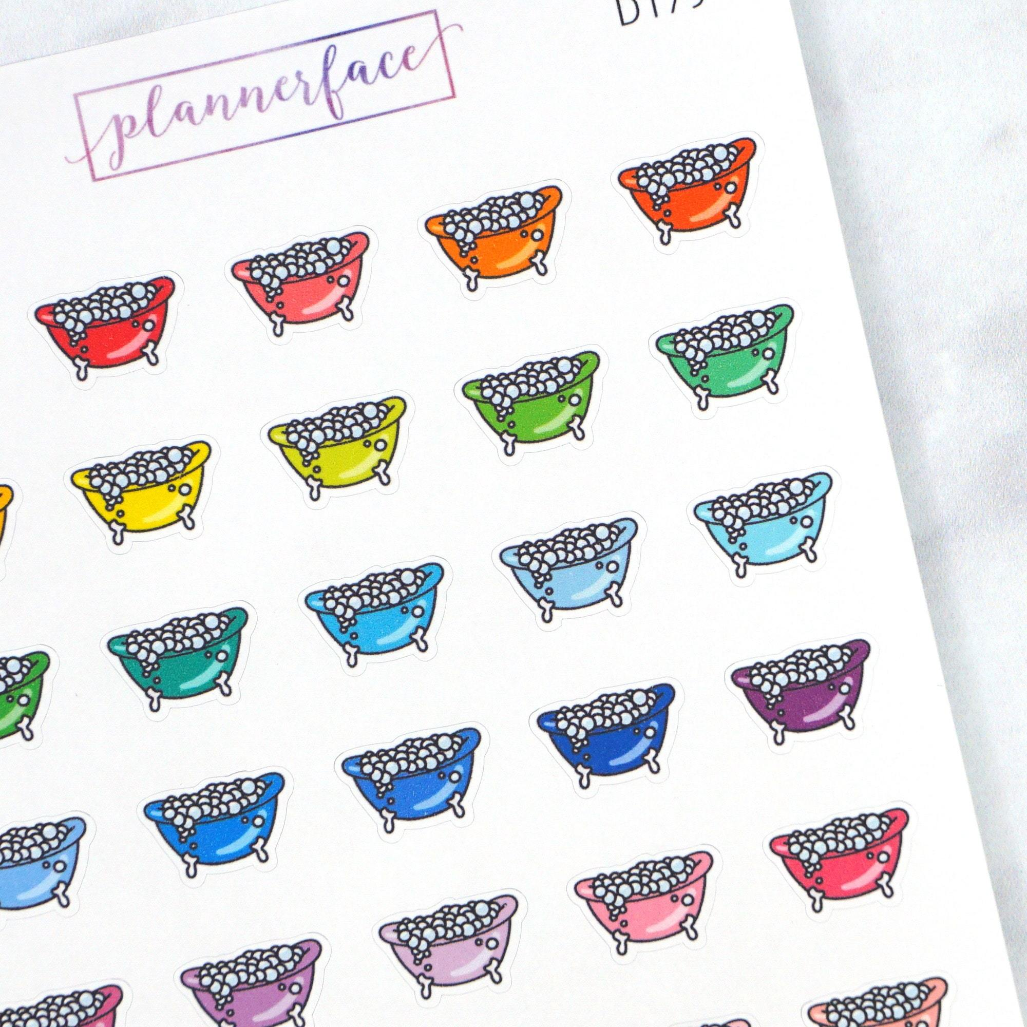 Plannerface Bubble Bath Multicolour Doodles Planner Stickers