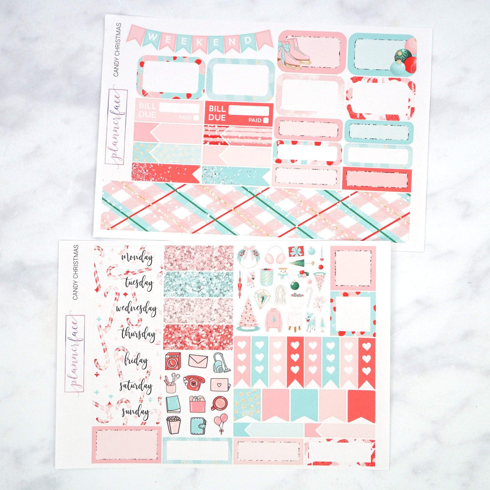 Plannerface Candy Christmas Mini Kit Planner Stickers