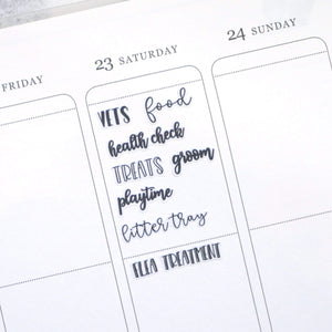 Plannerface Cat Care | Lettering Planner Stickers
