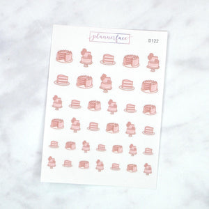 Plannerface Celebration Cake Doodles Planner Stickers