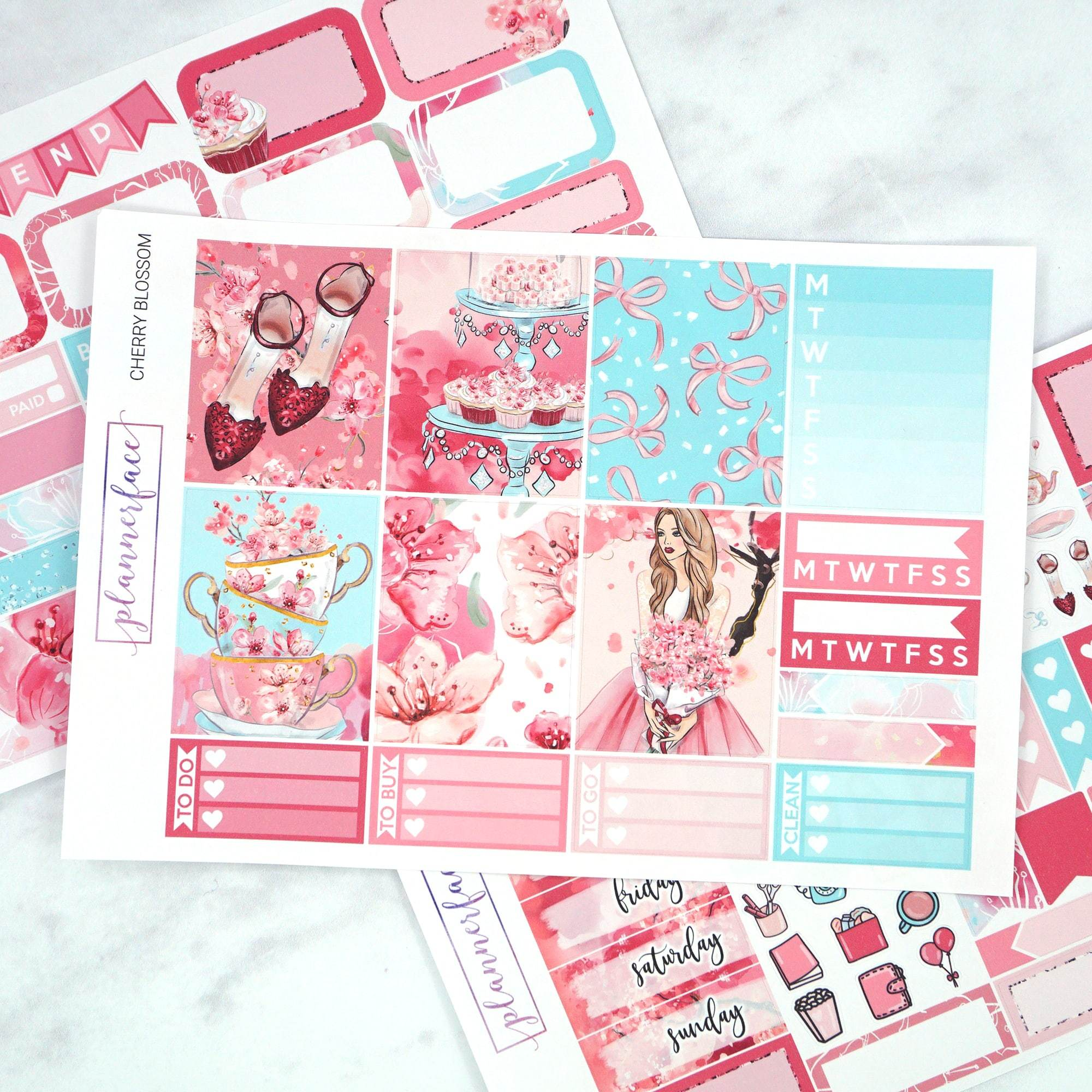 Plannerface Cherry Blossom Mini Kit Planner Stickers