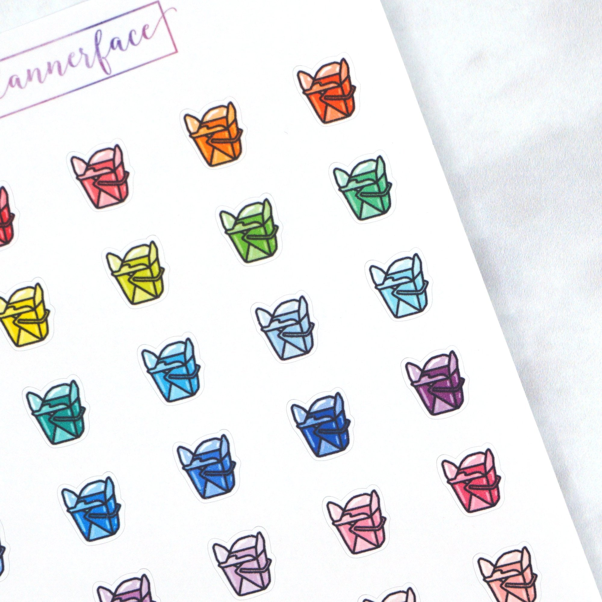 Plannerface Chinese Takeaway Multicolour Doodles Planner Stickers