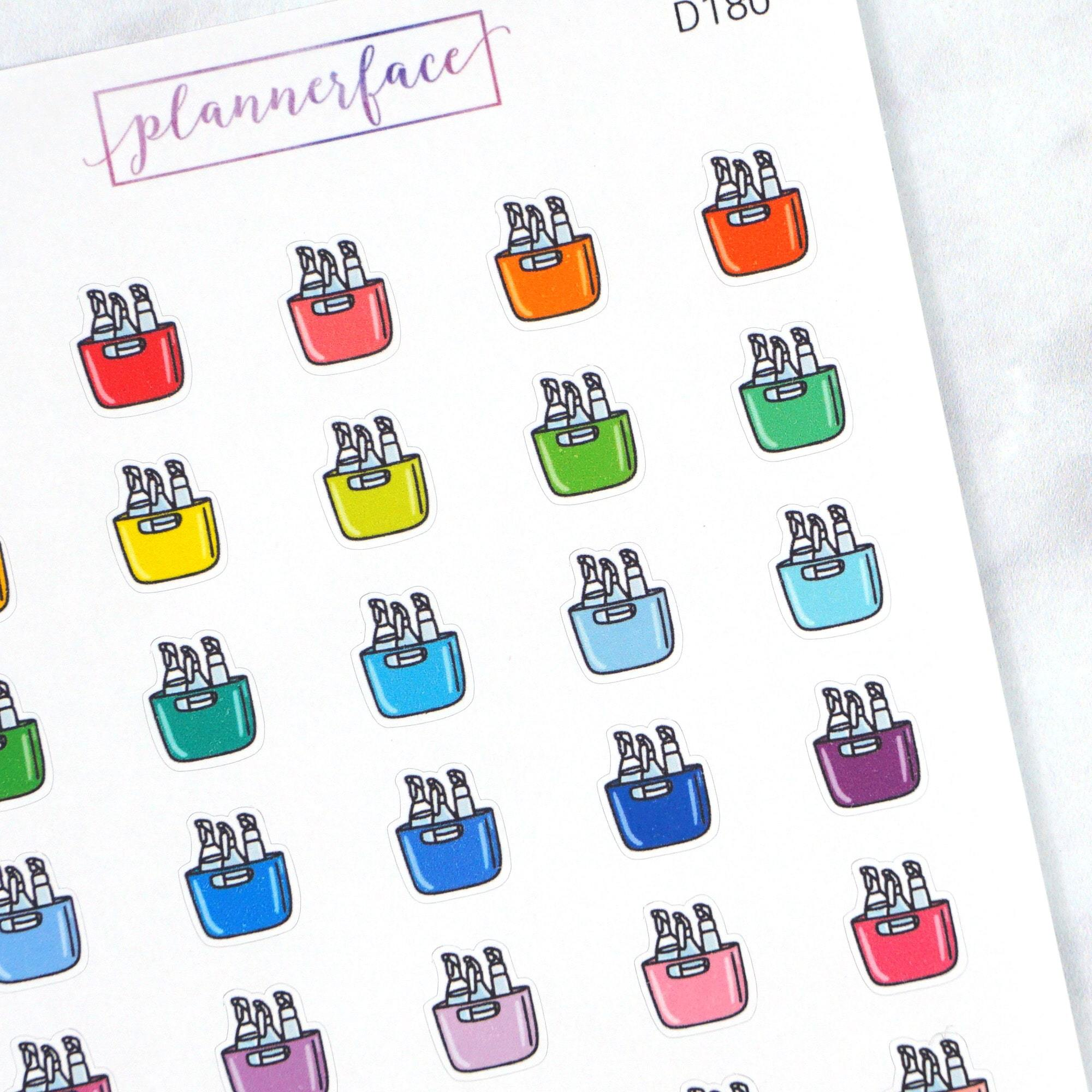 Plannerface Cleaning Caddy Multicolour Doodles Planner Stickers