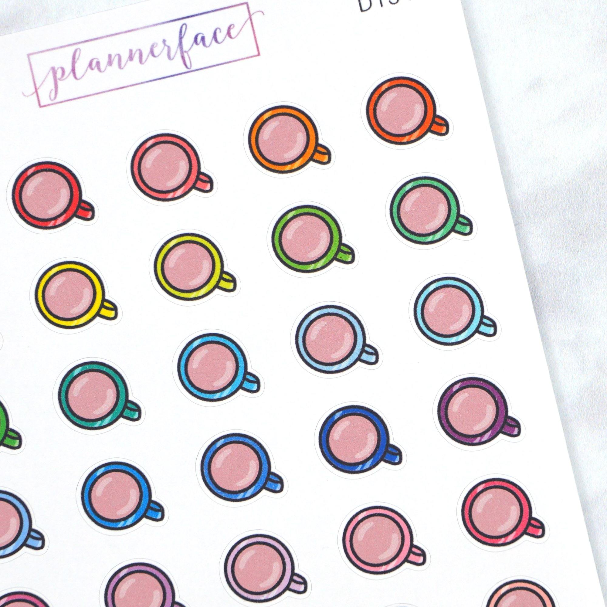 Plannerface Coffee Cup Multicolour Doodles Planner Stickers