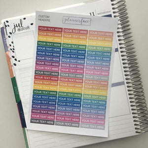 Plannerface Custom Headers | Multicolour - LEAVE NOTE AT CHECKOUT Planner Stickers