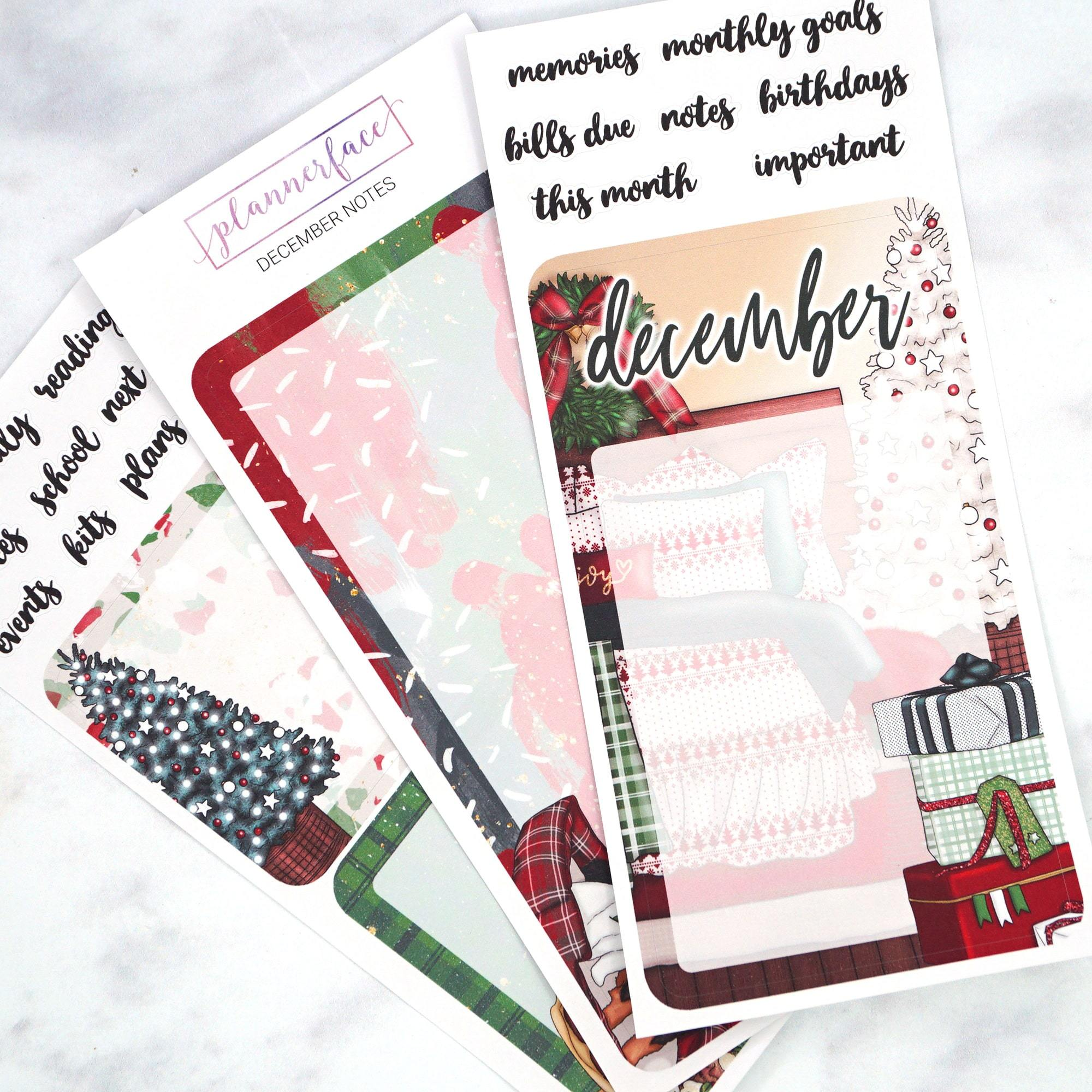 Plannerface December Notes Page Planner Stickers