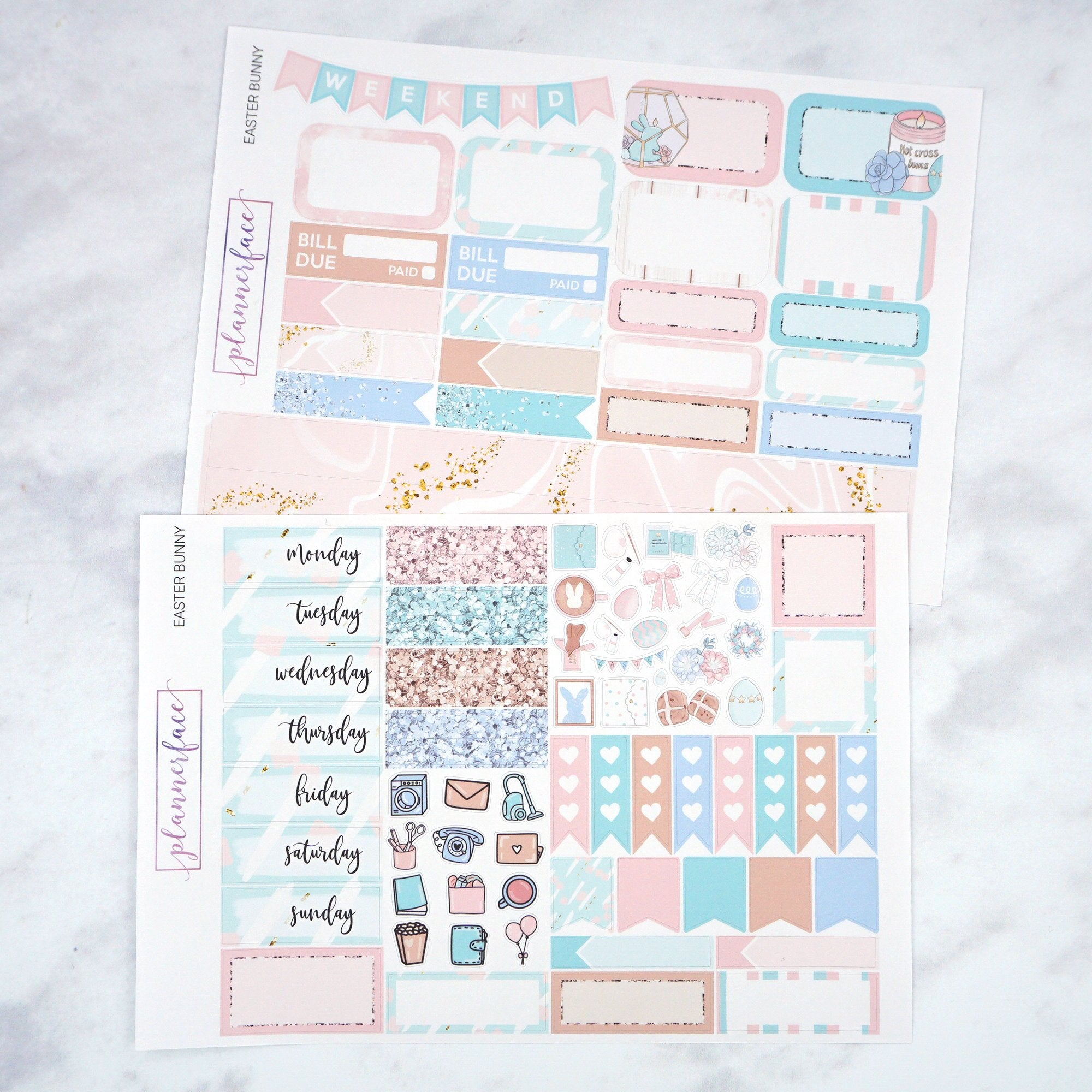 Plannerface Easter Bunny Mini Kit Planner Stickers