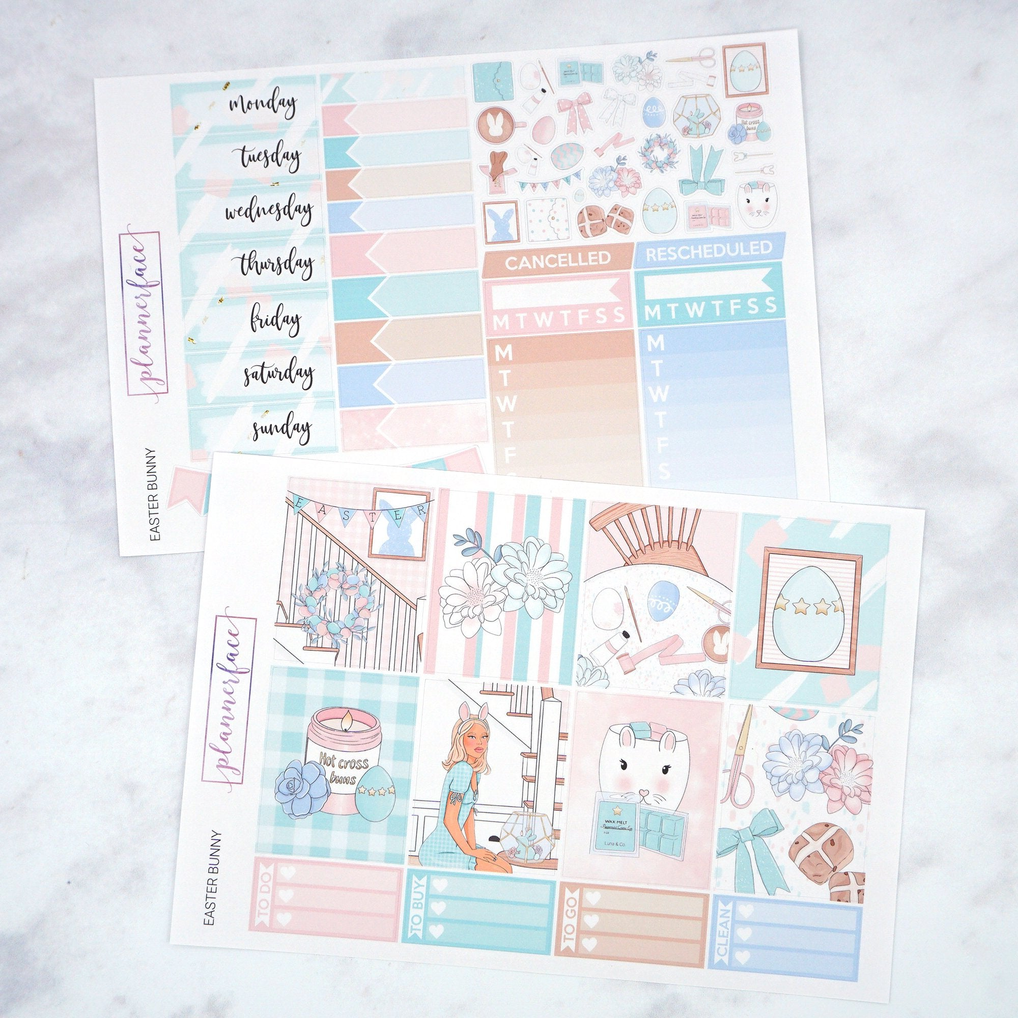 Plannerface Easter Bunny Weekly Kit Planner Stickers