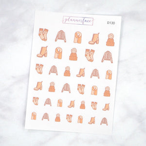 Plannerface Fall Clothing Doodles Planner Stickers