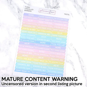 Plannerface Funny MATURE Cancelled Banners | Multicolour Pastel Planner Stickers