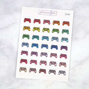 Plannerface Gaming Controller Multicolour Doodles Planner Stickers