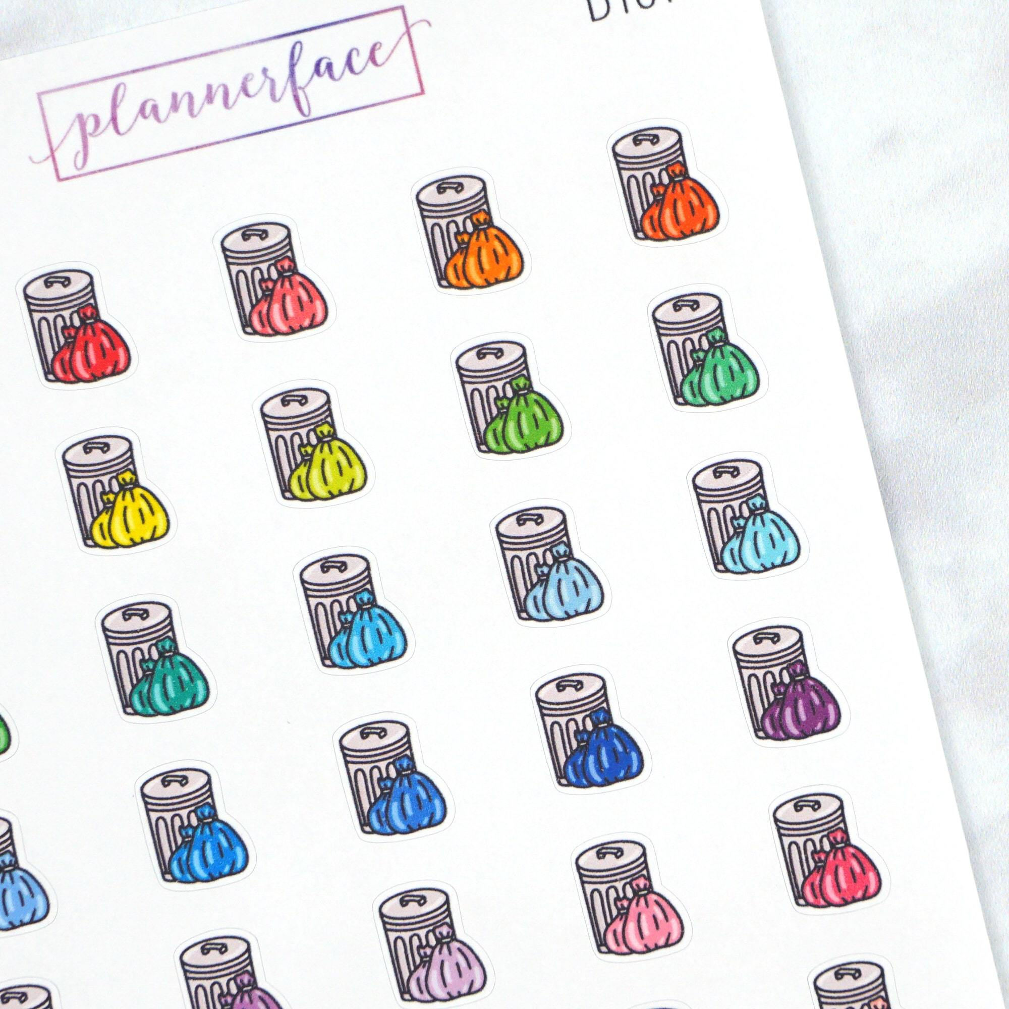 Plannerface Garbage Can Multicolour Doodles Planner Stickers