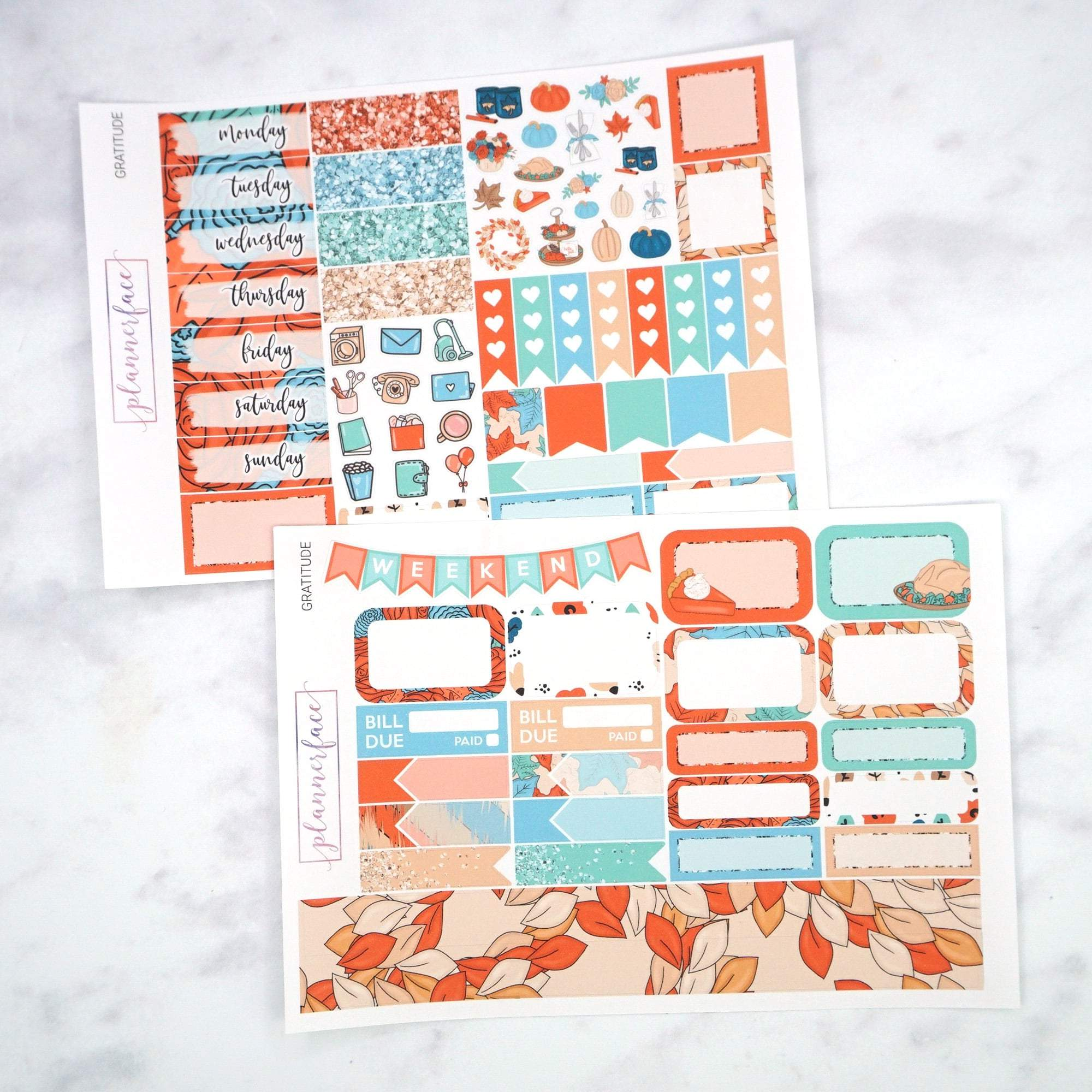 Plannerface Gratitude Mini Kit Planner Stickers
