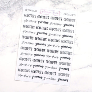 Plannerface Groceries | Lettering Planner Stickers