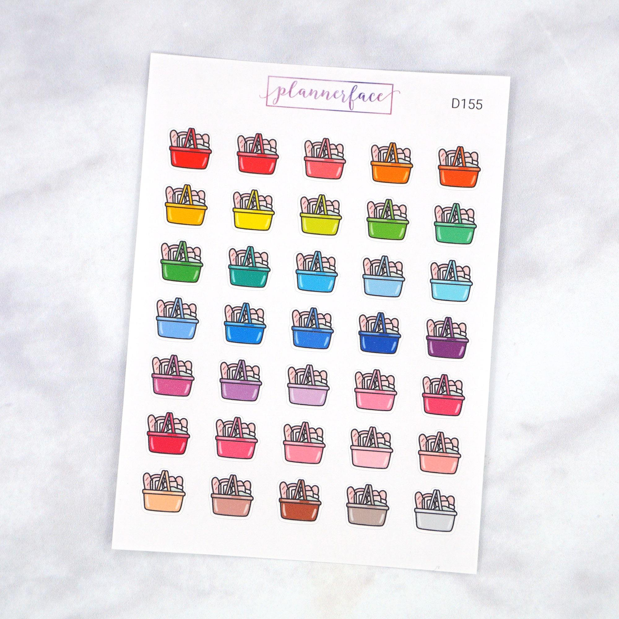 Plannerface Grocery Basket Multicolour Doodles Planner Stickers