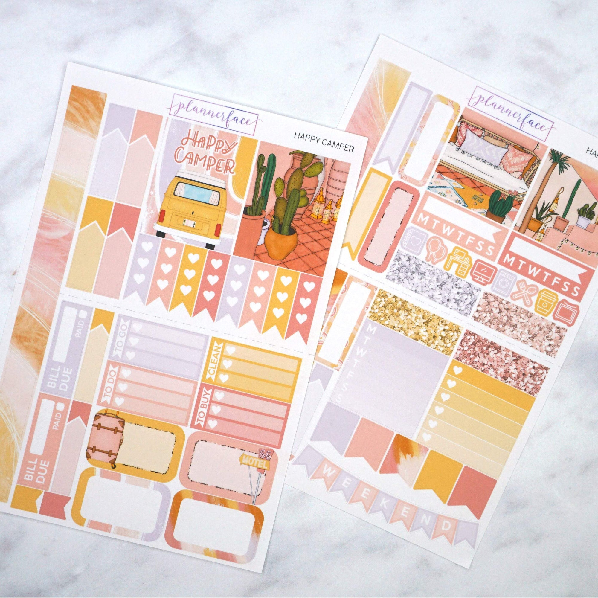 Plannerface Happy Camper Mini Kit Planner Stickers