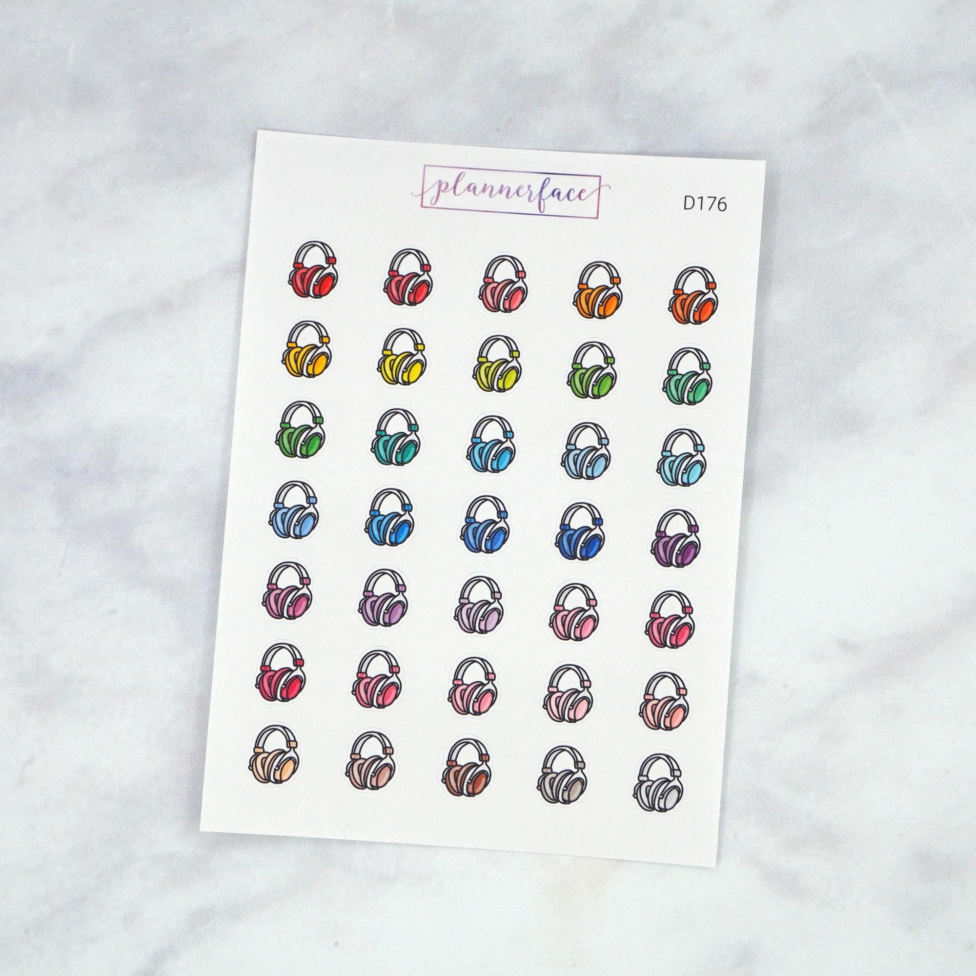 Plannerface Headphones Multicolour Doodles Planner Stickers