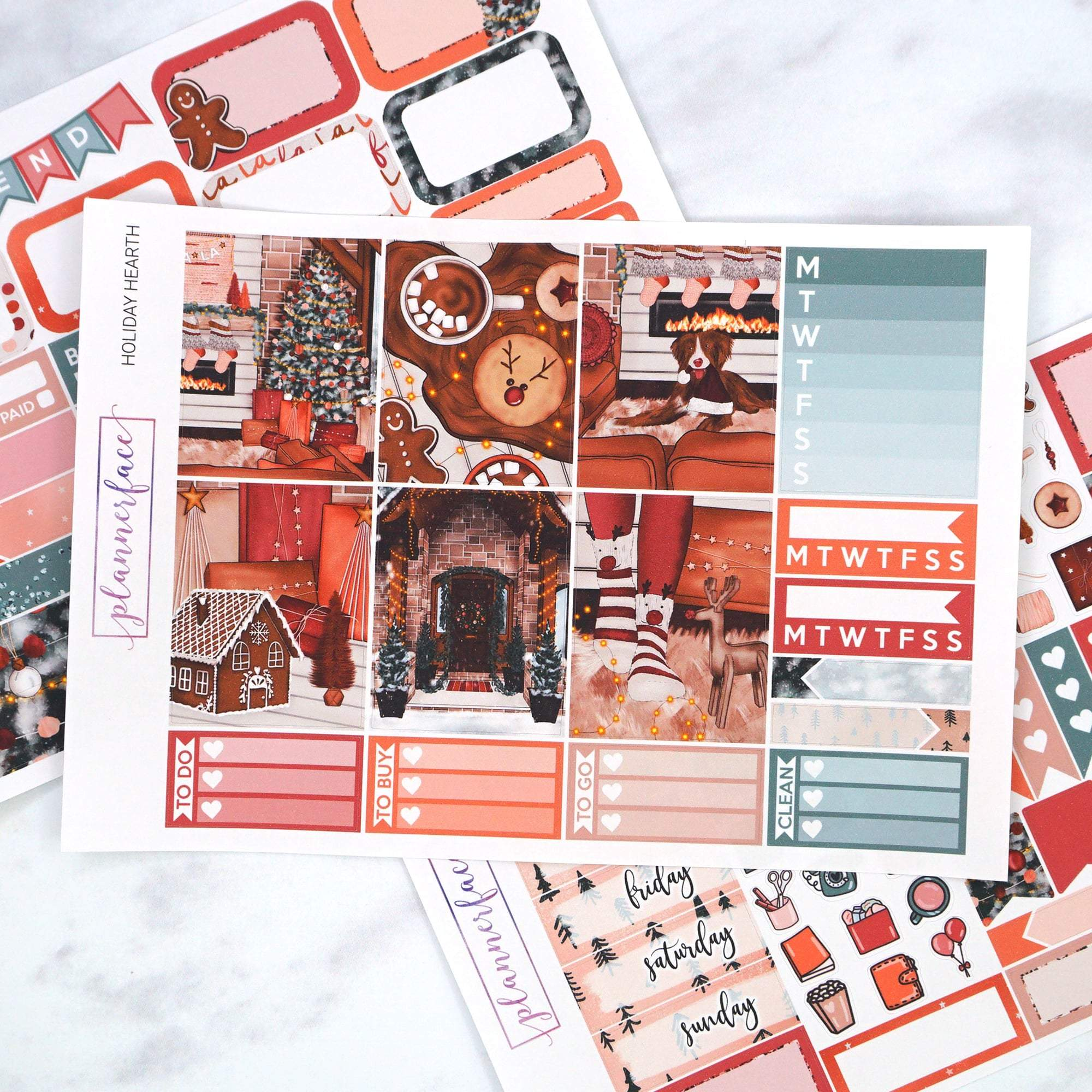 Plannerface Holiday Hearth Mini Kit Planner Stickers