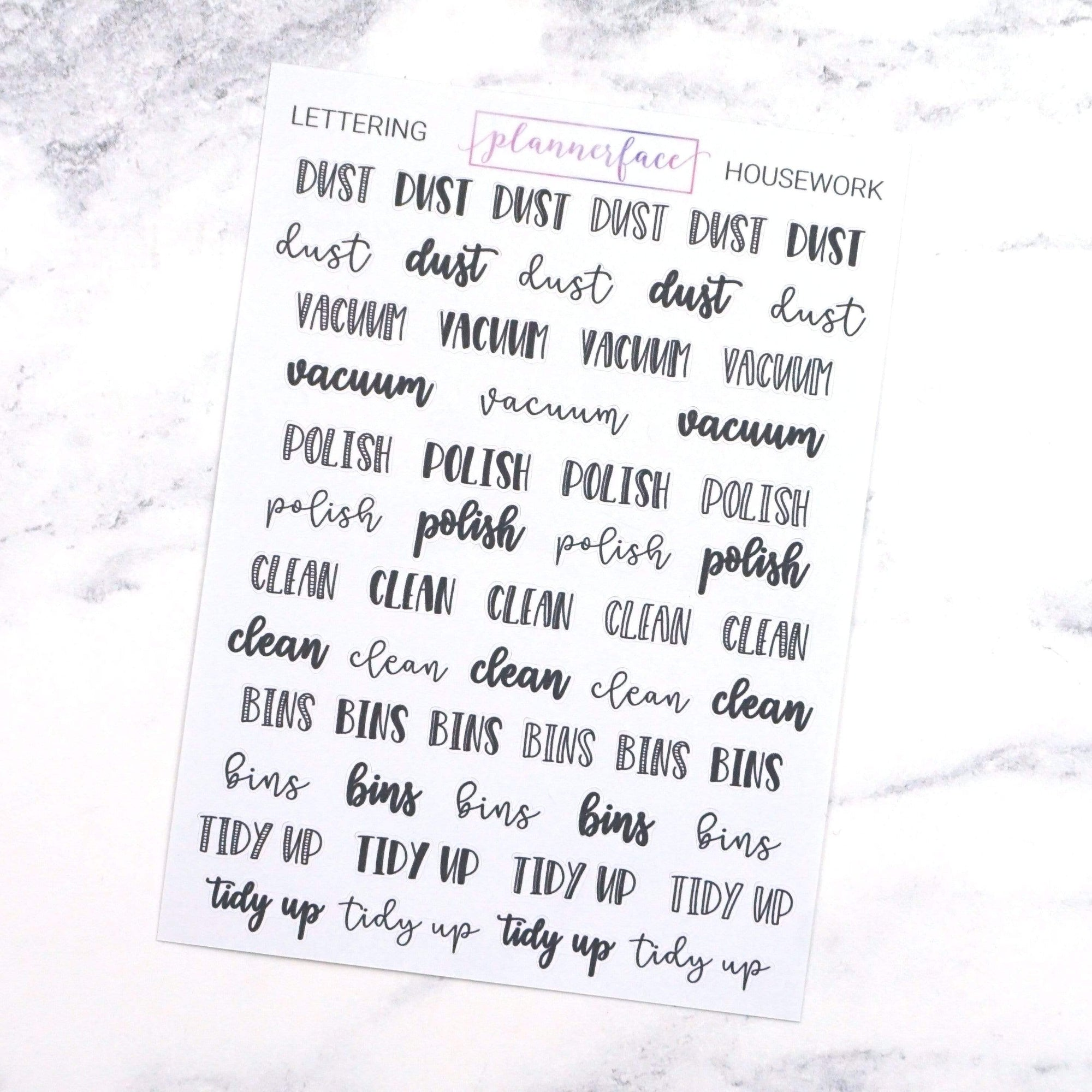 Plannerface Housework | Lettering Planner Stickers