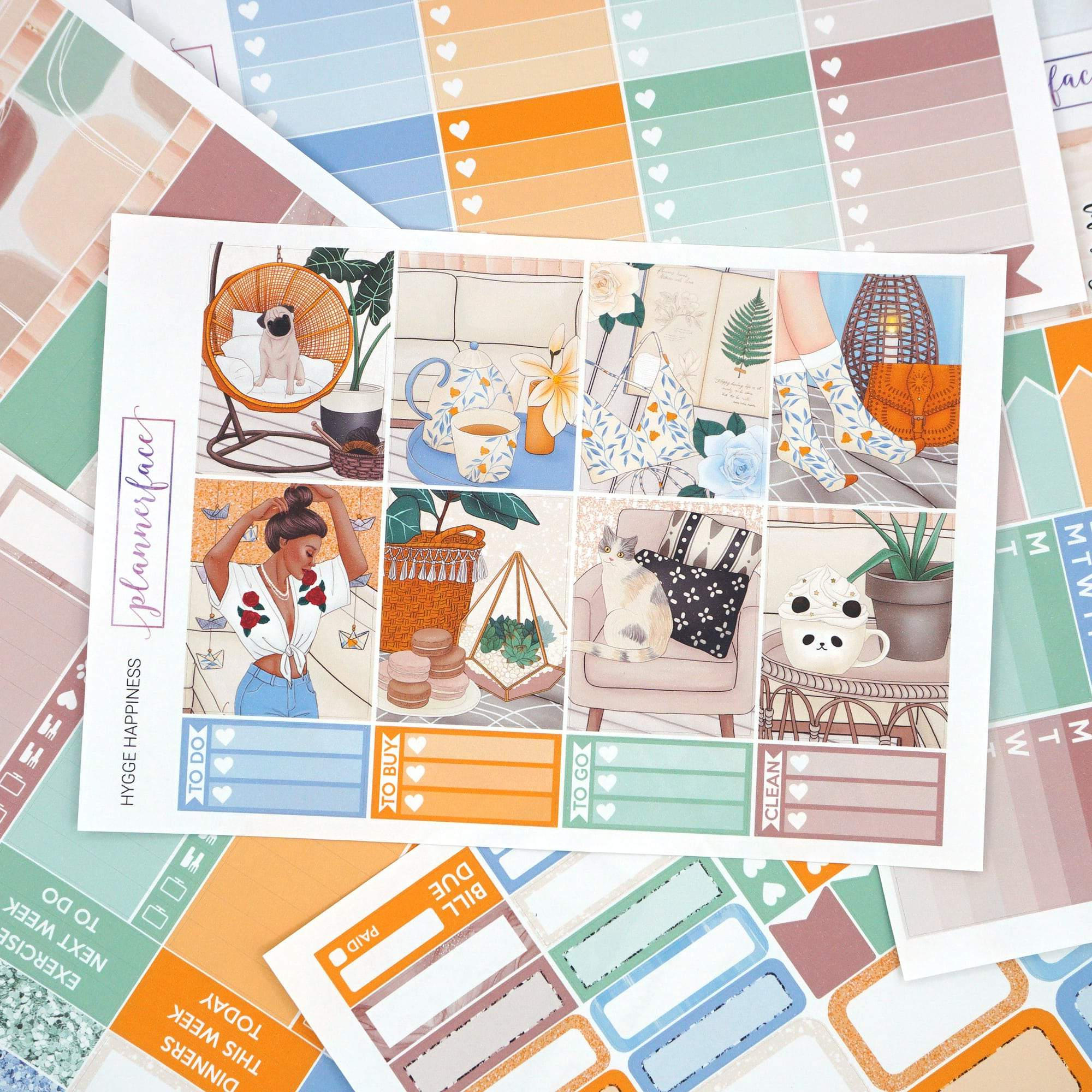 Plannerface Hygge Happiness Weekly Kit Planner Stickers