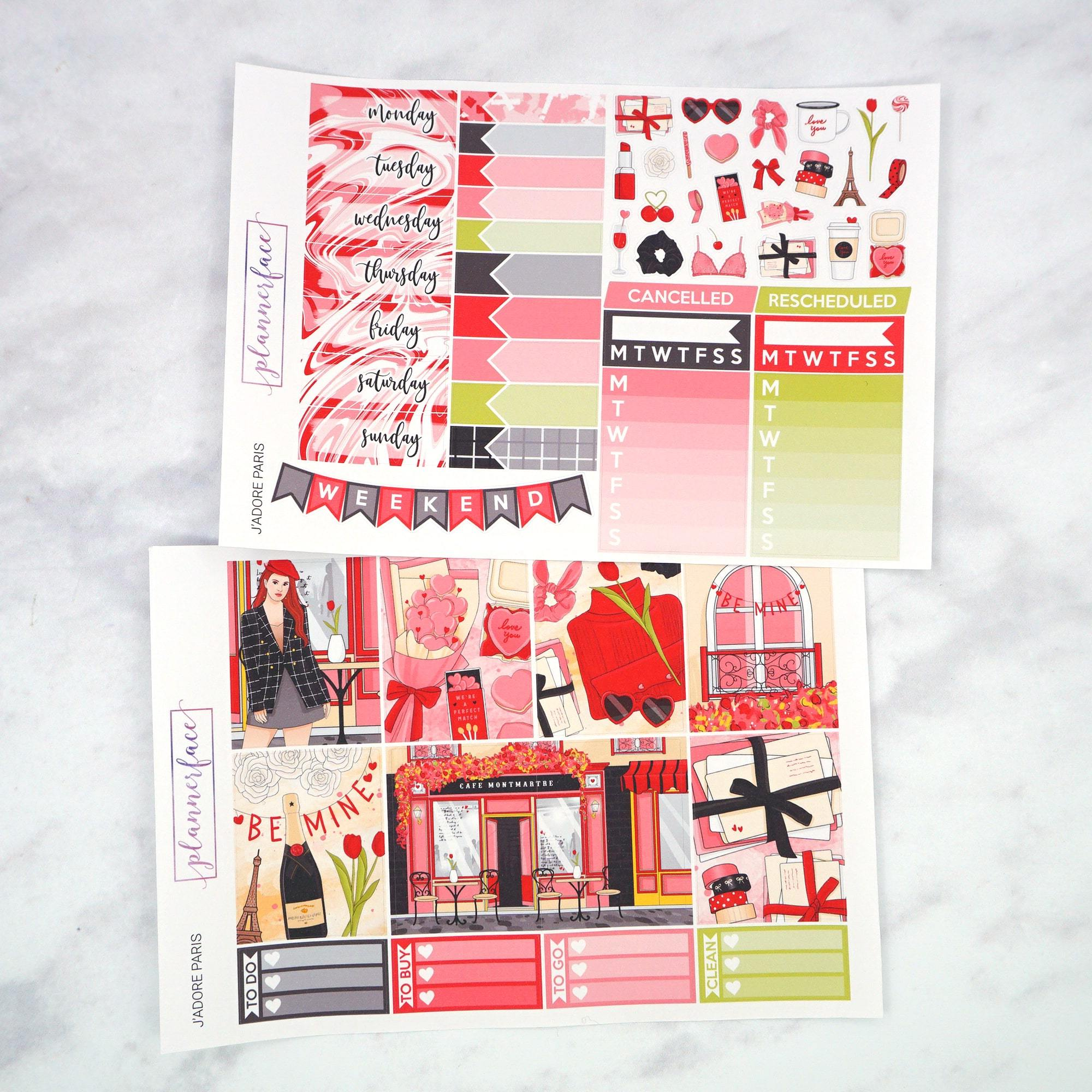 Plannerface J'adore Paris Weekly Kit Planner Stickers