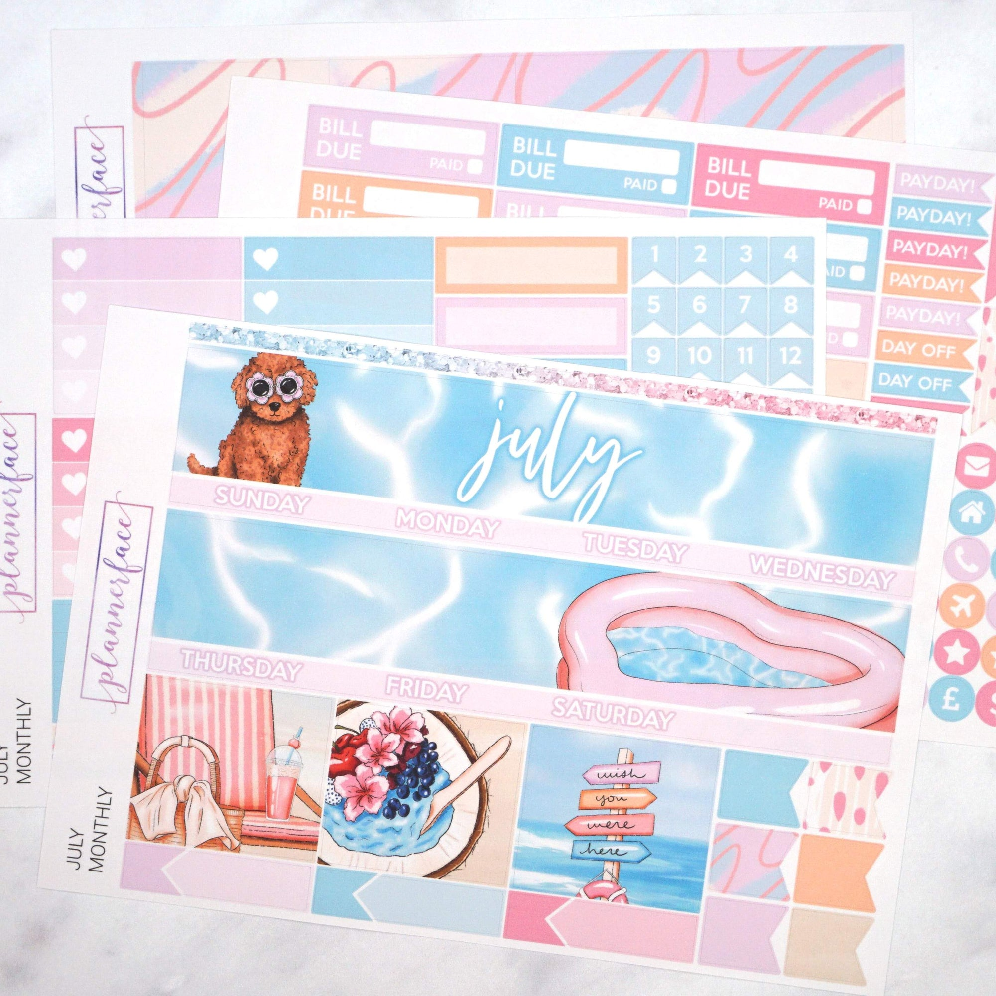 Plannerface July Monthly Kit Planner Stickers