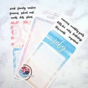 Plannerface July Notes Page Planner Stickers