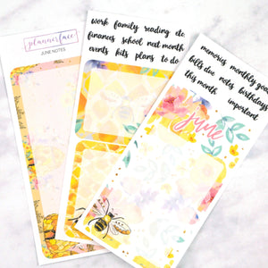 Plannerface June Notes Page Planner Stickers