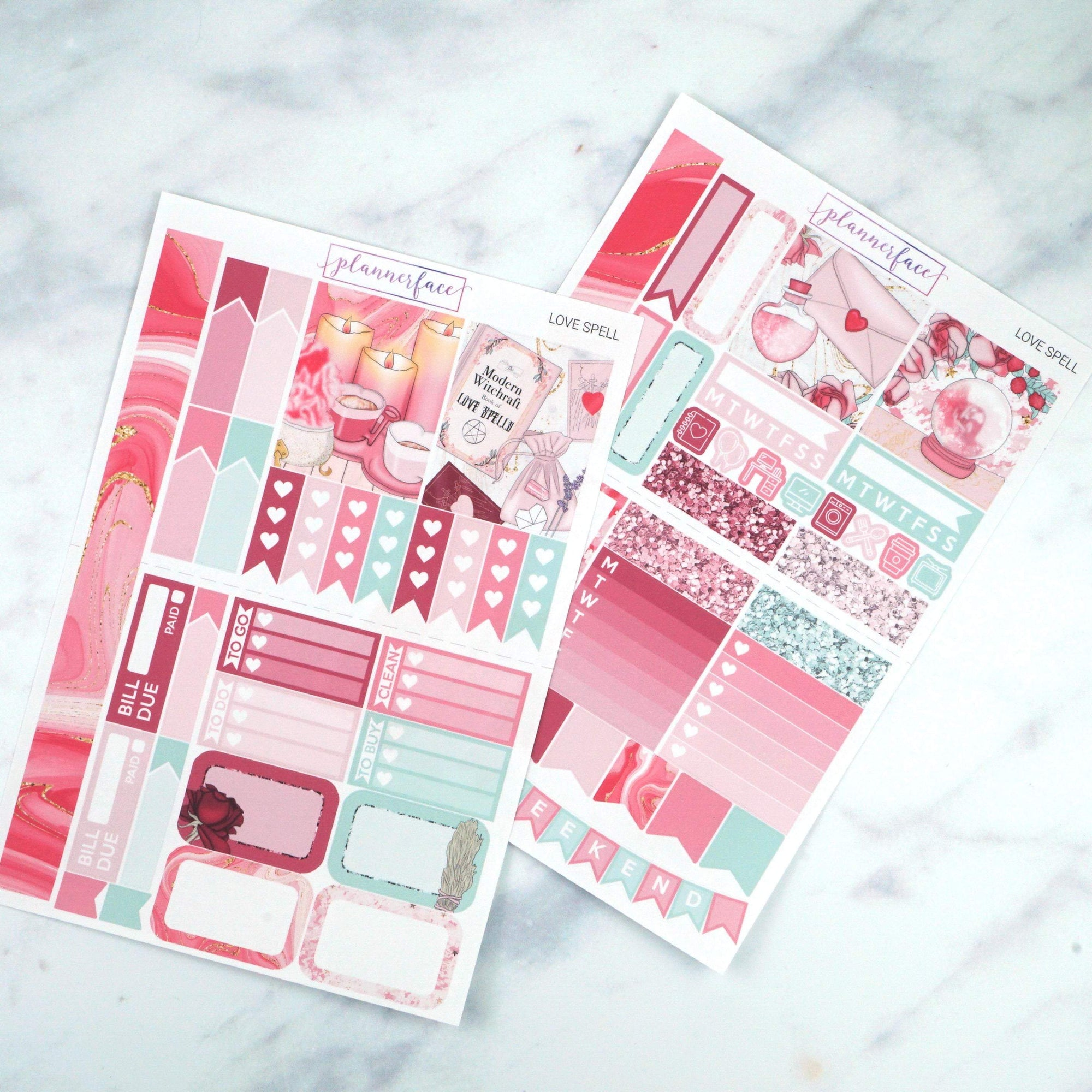 Plannerface Love Spell Mini Kit Planner Stickers