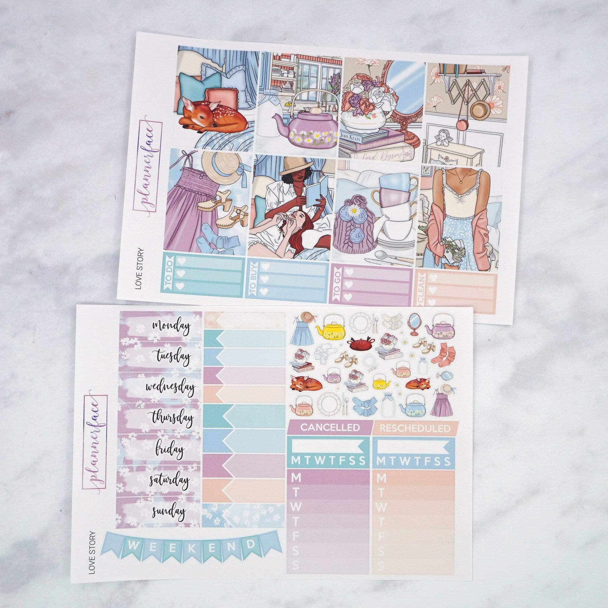 Plannerface Love Story Weekly Kit Planner Stickers